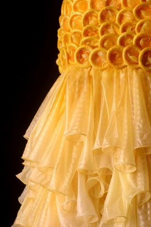 Dresses made of condoms by artist and social activist Adriana Bertini.