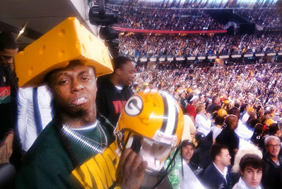 Lil Wayne at a Green Bay Game.