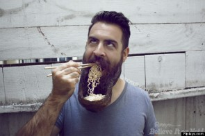 You can eat noodles from your beard.