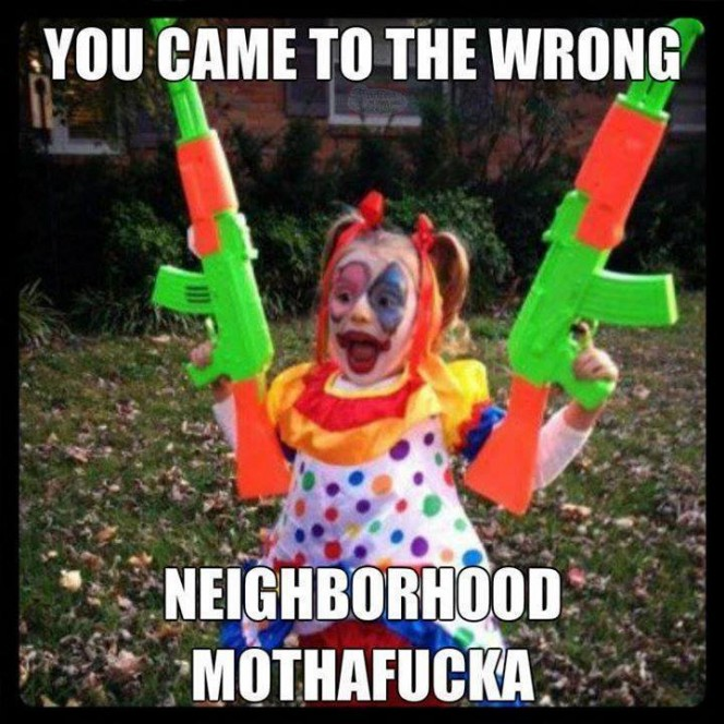 crazy clown kid with guns