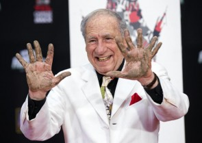 Mel Brooks gave the Hollywood Chinese Theater the finger.