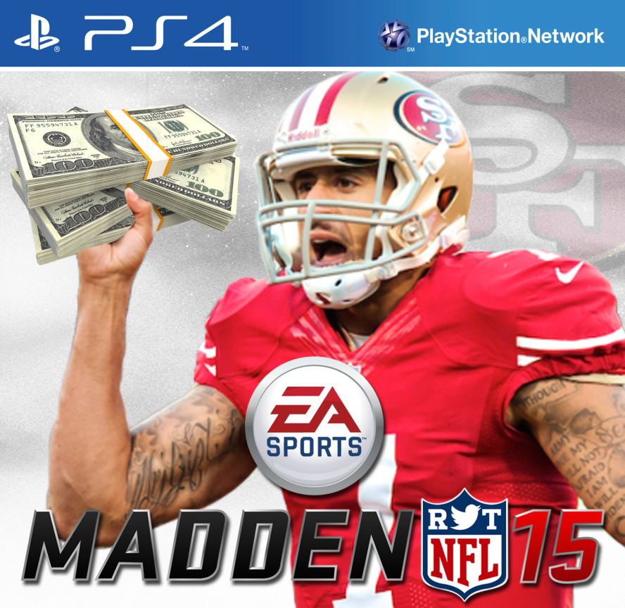 San-Francisco-49ers-Funny-Madden-Cover-Colin-Kaepernick-stacks-of-cash