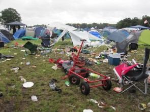 Festival hippies are coating the Earth with a layer of trash.